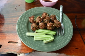 My lunch/breakfast Monday - spicy fried pork balls and cucumber. I asked to tone down the chilli but it was still hot.